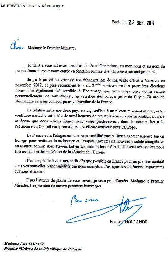 modele de lettre president de la republique Lettre de félicitations de l'Elysée à Mme Ewa Kopacz | APGEF modele de lettre president de la republique