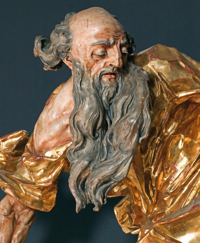 Johann Georg Pinsel, Abraham sacrifiant Isaac (détail), vers 1758, bois polychrome et doré, 157 x 120 x 96 cm, Lviv, Galerie nationale des Beaux-Arts. Provenance : Hodowica, choeur de l'église. © Galerie nationale des beaux-arts de Lviv