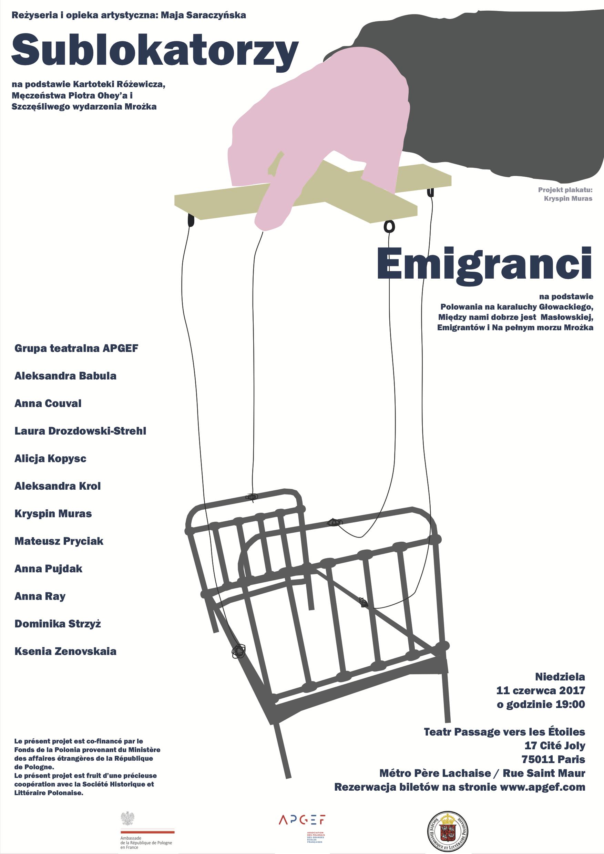 """11 juin au Théâtre Passage vers les Étoiles – représentation unique de """"Sublokatorzy"""" et de """"Emigranci"""""""